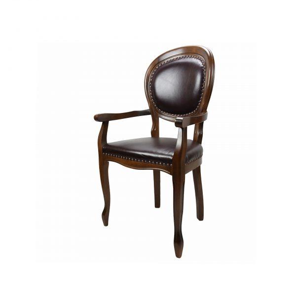 Scaun clasic cu brate, cu spatar si sezut din piele naturala, pentru birou, living, sau HORECA