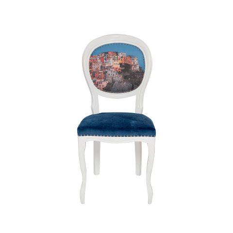 Scaun decorativ clasic alb albastru