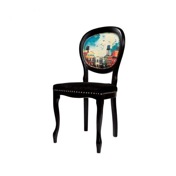 Scaun decorativ clasic negru
